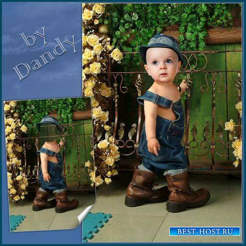 Шаблон для фотошопа - Мальчик в сапогах на вырост