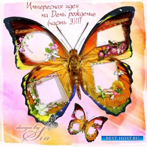 Рамка-вырез для фотошопа –  Фоторамка-вырез на 4 фото –  Бабочка оранжевая (часть 3)