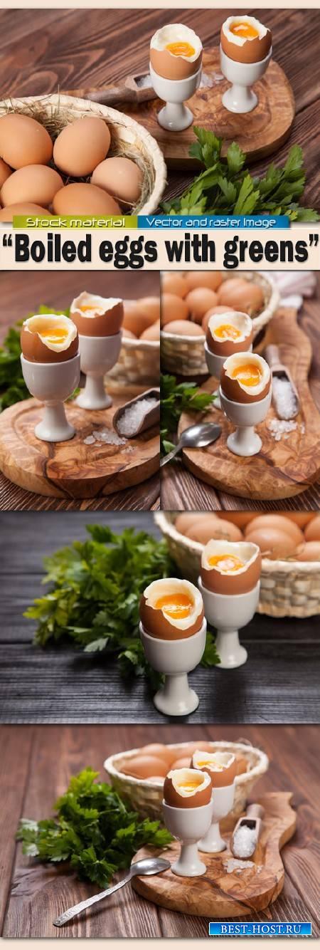 Вареные яйца с зеленью на деревянном фоне