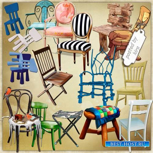 Клипарт без фона - Разнообразные стулья, табуретки