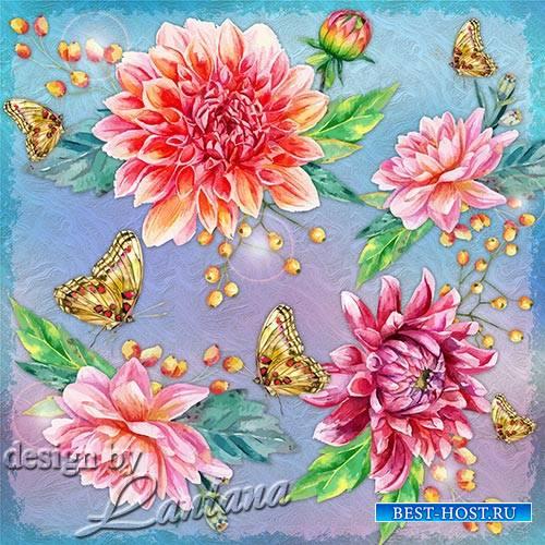 PSD исходник - Цветы из солнечного света и разноцветных граней лета