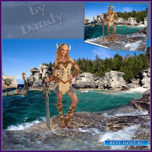 Шаблон для фотошопа - Очаровательная девушка викинг