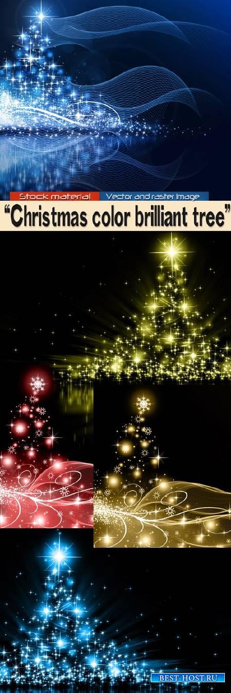 Рождественские цветные блестящие елочки