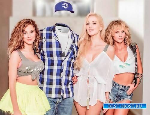 Photoshop шаблон - С 3-мя девчонками