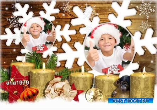 Рамка для фотошопа – Две белых снежинки