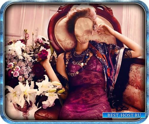 Шаблон для фотошопа - На диване с розами