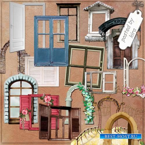 Клипарт на прозрачном фоне - Окна, двери, арки