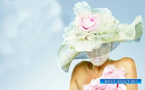 Шаблон psd - В изящной шляпке с цветком