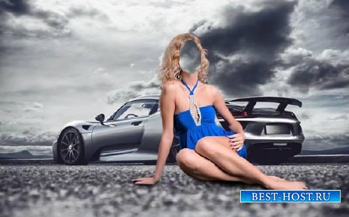 Photoshop шаблон - В синем платье у Порше 918