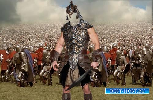 Photoshop шаблон - Воин в доспехах на поле боя