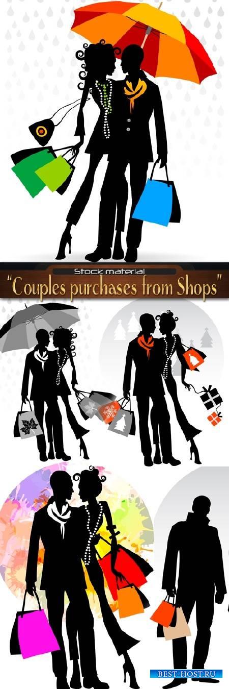 Романтичные пары с покупками из магазинов