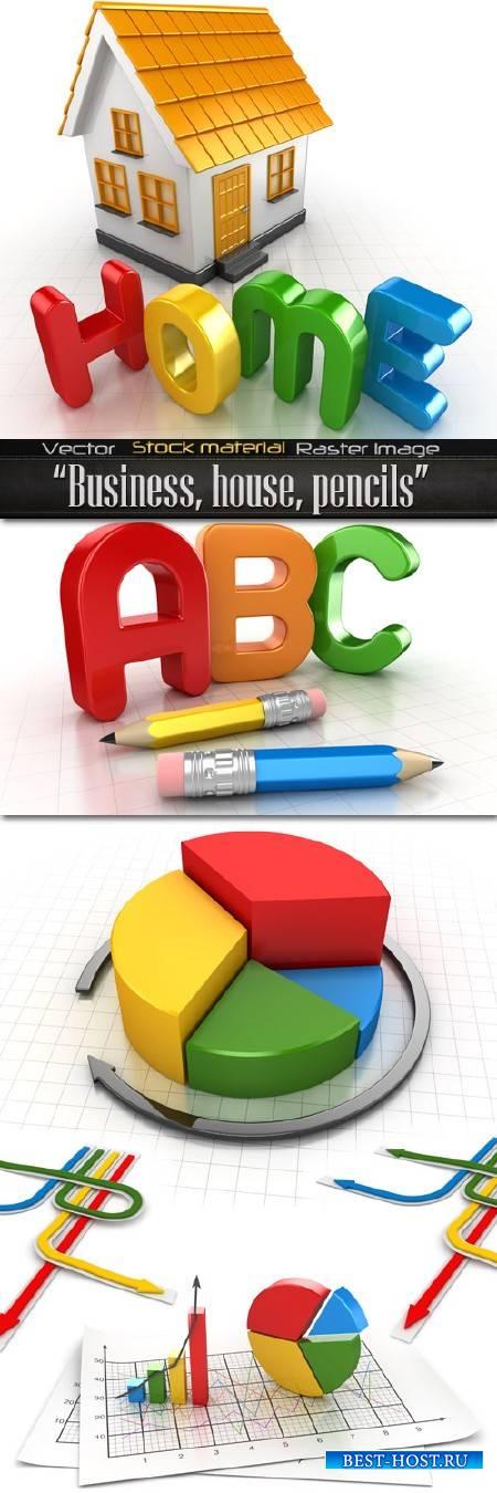 Бизнес - схема, дом, карандаши и цветные стрелки