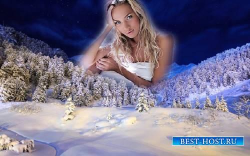 Рамка для фотошоп - Зимний вечерний лес