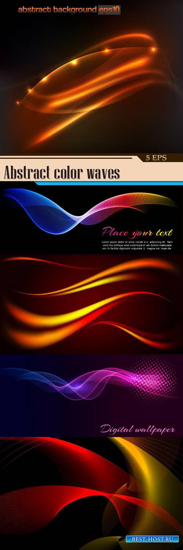 Абстрактные цветные волны на черном фоне