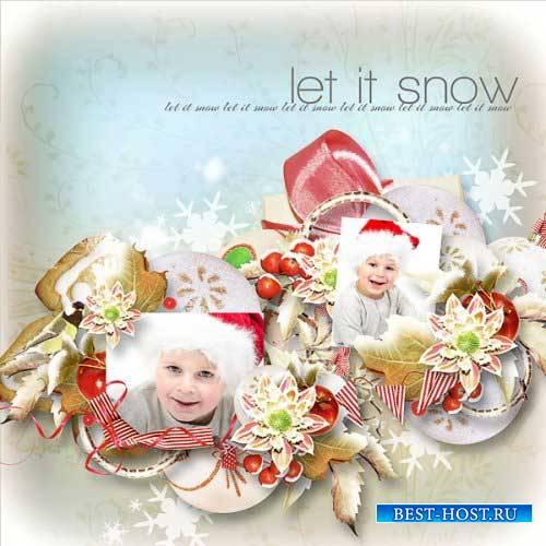 Зимний скрап-комплект - Падающие снежинки