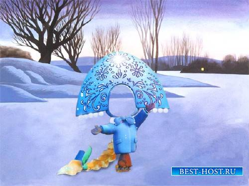 Шаблон для фотошопа - Снегурочка на катке