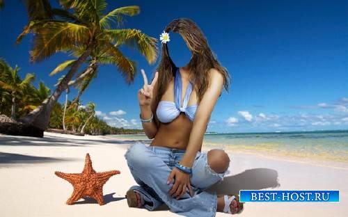 Photoshop шаблон - Где-то в жарких странах на пляже