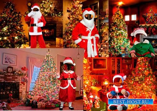 Шаблоны для фотошопа  - Дети в костюмах Санта Клауса