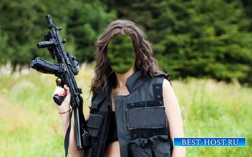 Шаблон psd - Девушка с оружием