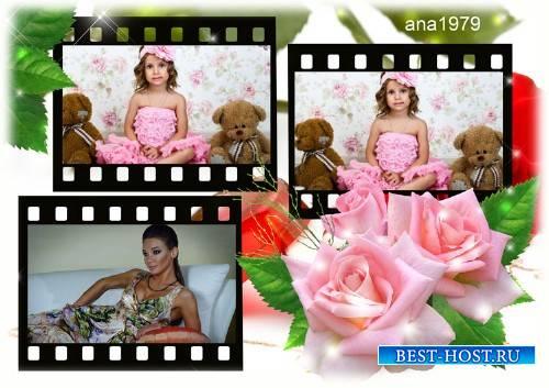 Рамка для фотошопа - Три розы