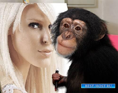 Фоторамка psd - Рисующая шимпанзе