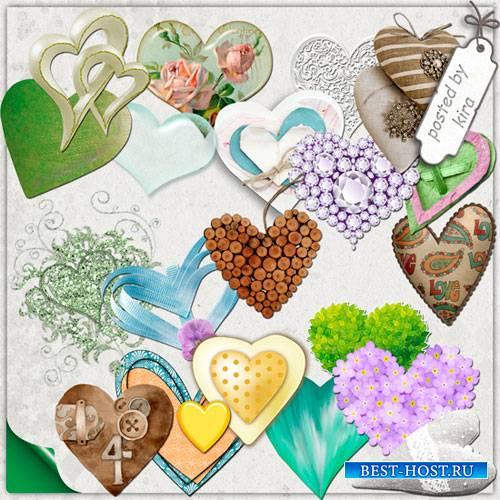 Клипарт ко Дню святого Валентина - Разноцветные сердца