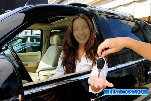 Photoshop шаблон - Приобретение новенького автомобиля