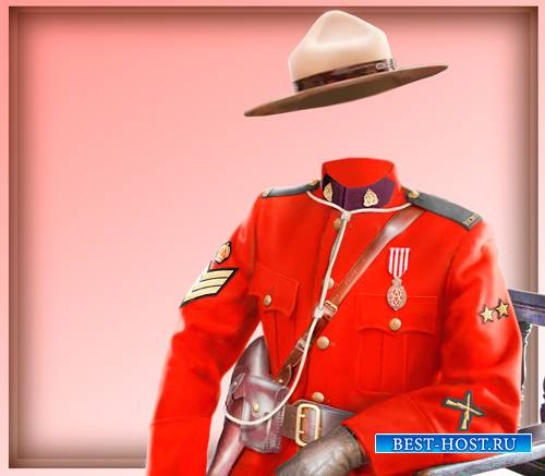 Шаблон для фотошоп - Канадский офицер