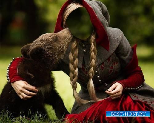 Photoshop шаблон - Девушка с милым медведем