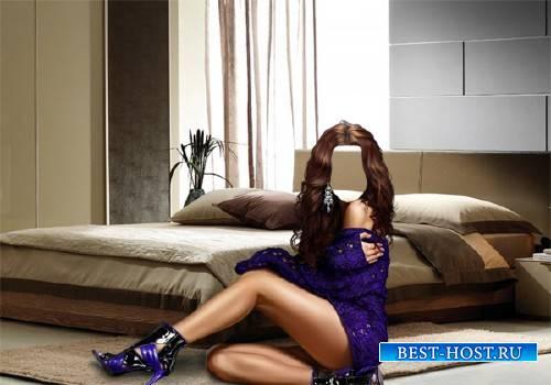 Photoshop шаблон - Девушка возле кровати