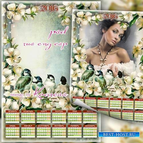 Весенний календарь-рамка на 2016 с цветами и птицами - В окно повеяло весною