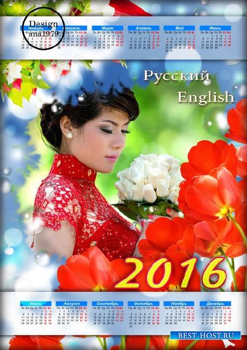 Календарь для фотошопа – Красные тюльпаны