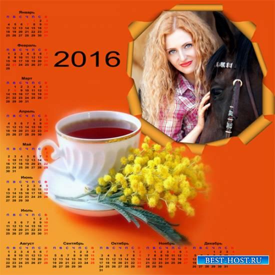 Календарь - рамка на 2016 год – Весенняя пора
