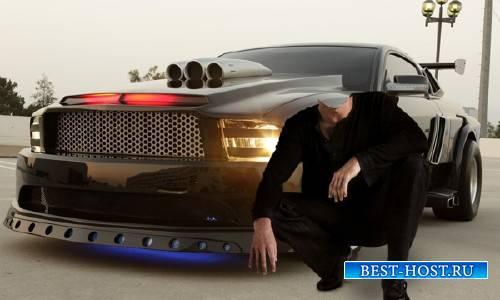 Photoshop шаблон - Возле классного авто