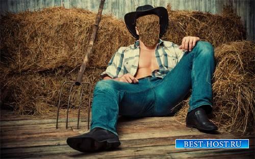 PSD шаблон для мужчин - Ковбой на сене