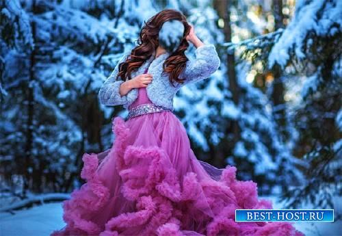 Шаблон для Photoshop - На фотосессии в розовом платье