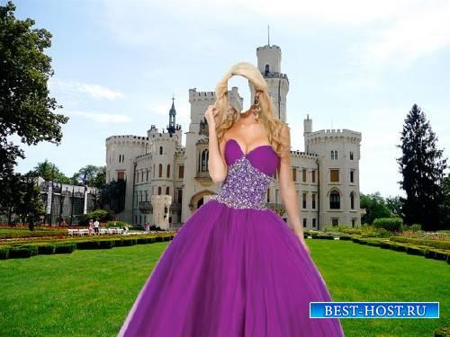 Шаблон psd - У замка в пышном платье