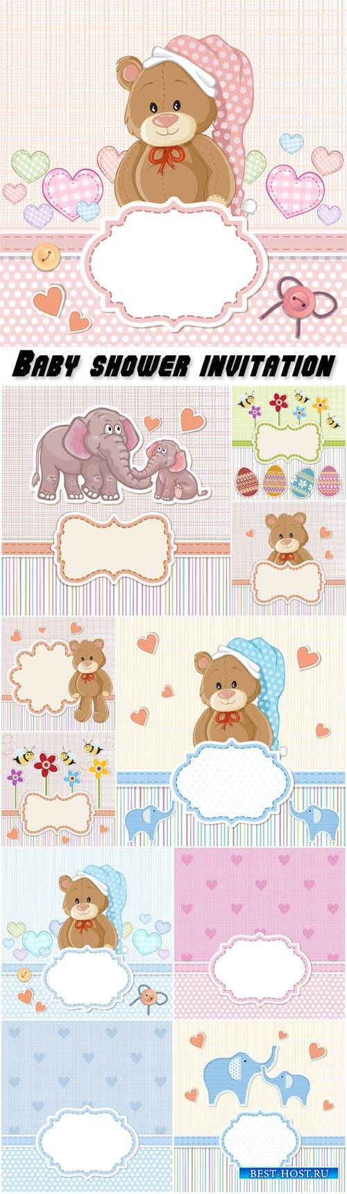 Baby shower invitation, teddy bear for baby