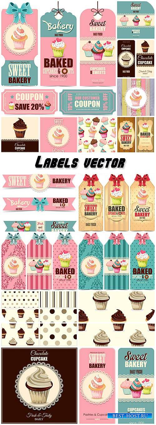 Labels vector, sweets, cakes and pastries