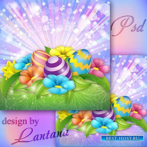 PSD исходник - Разноцветные цветочки словно капельки с небес