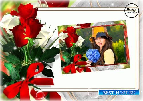 Рамка для фотошопа – Букет прекрасных роз