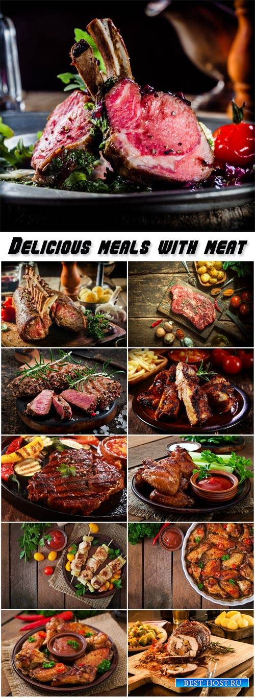 Delicious meals with meat