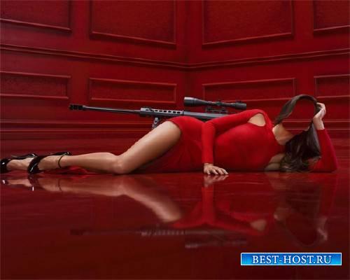 Фотошаблон - Леди в красном