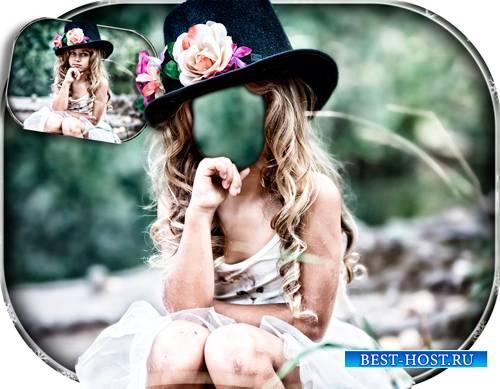 Фотошаблон - Девочка в модной шляпке
