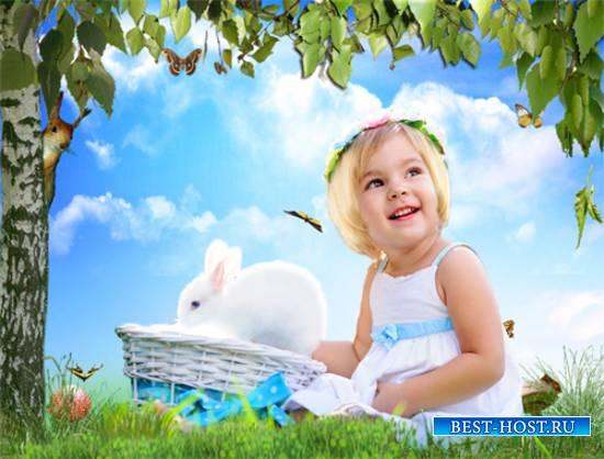 Шаблон  детский - Зайка белый, куда бегал