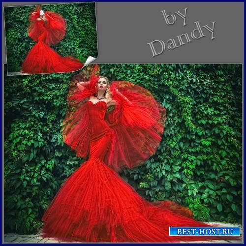 Шаблон для девушки - В шикарном красном платье
