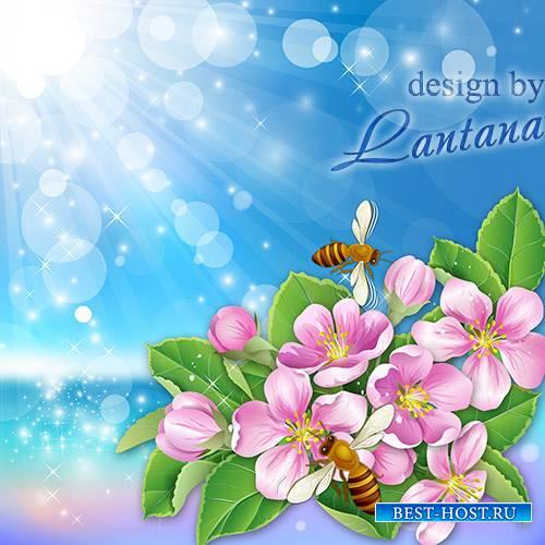PSD исходник - Опять весна, взлетают пчелы и распускаются цветы