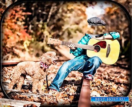 Детский шаблон для фотошопа - Мальчик с гитарой возле собаки