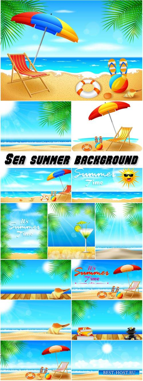 Sea summer background vector, palm trees, beach