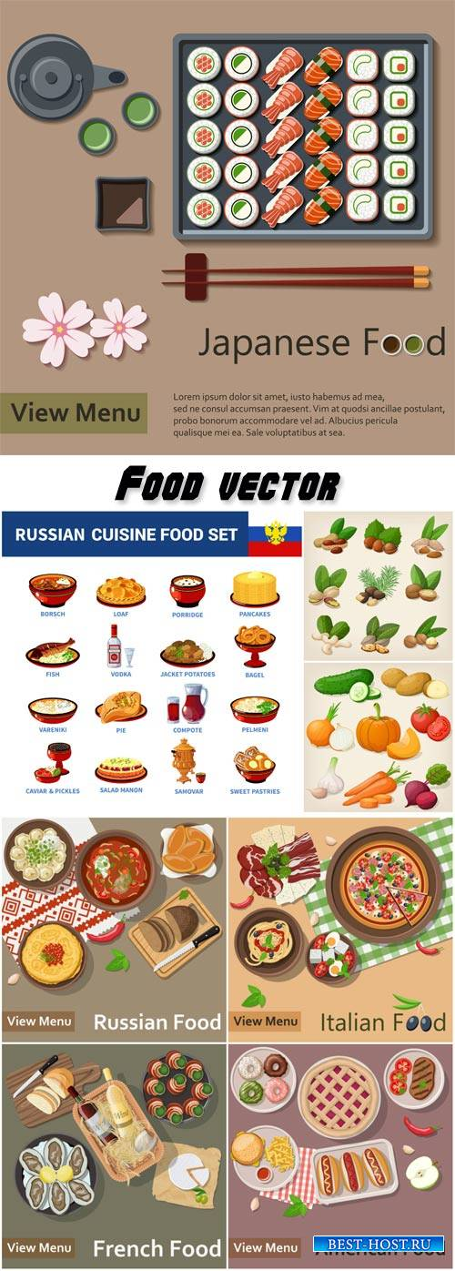 Dishes from different countries in vector